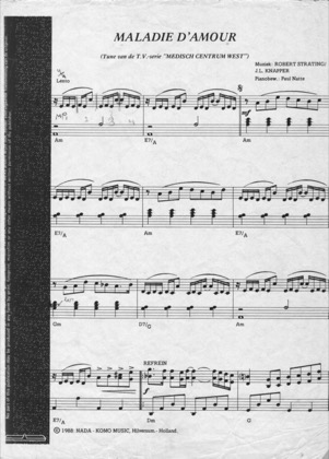Thumbnail of first page of Maladie D'Amour piano sheet music PDF by Medisch Centrum West.