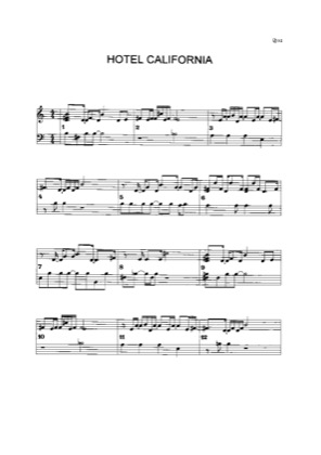 Thumbnail of first page of Hotel California (3) piano sheet music PDF by Eagles.