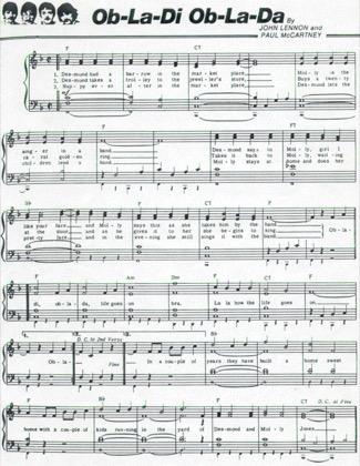Thumbnail of first page of Ob la di ob la da piano sheet music PDF by The Beatles.