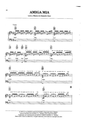 Thumbnail of first page of Amiga Mia piano sheet music PDF by Alejandro Sanz.