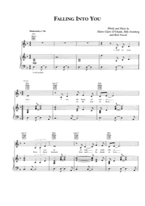 Thumbnail of first page of Falling into you piano sheet music PDF by Celine Dion.