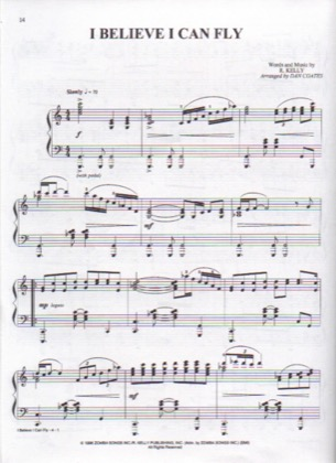 Thumbnail of first page of Believe I Can Fly (2) piano sheet music PDF by R Kelly.