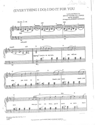 Thumbnail of first page of Everything I Do piano sheet music PDF by Bryan Adams.