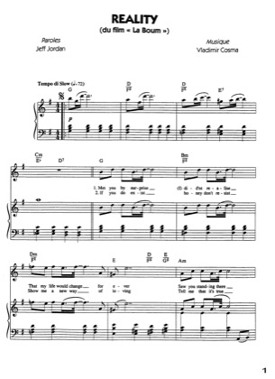 Thumbnail of first page of Reality piano sheet music PDF by La Boum.