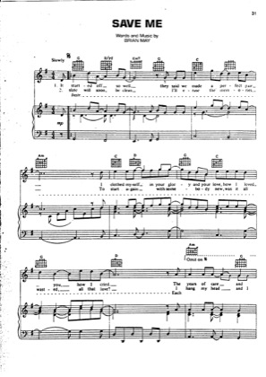 Thumbnail of first page of Save Me piano sheet music PDF by Queen.