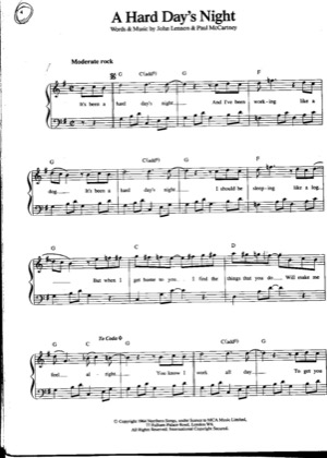 Thumbnail of first page of A Hard Days Night (2) piano sheet music PDF by The Beatles .