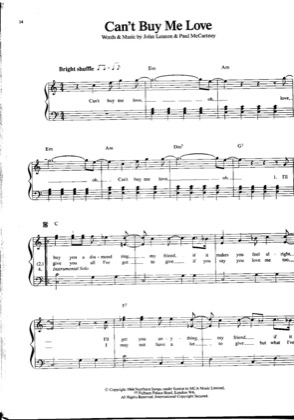Thumbnail of first page of Can't Buy Me Love piano sheet music PDF by The Beatles .