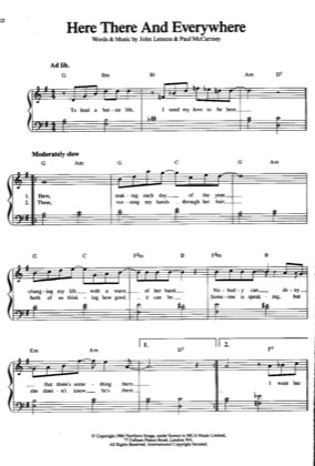 Thumbnail of first page of Here There and Everywhere piano sheet music PDF by The Beatles .