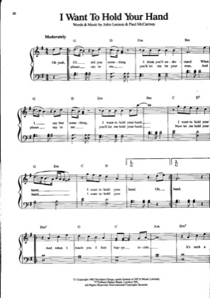 Thumbnail of first page of I Want To Hold Your Hand piano sheet music PDF by The Beatles .