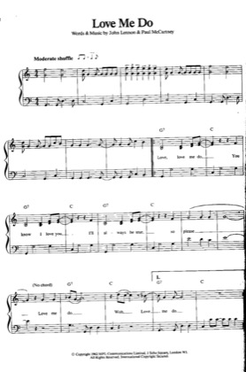 Thumbnail of first page of Love Me Do piano sheet music PDF by The Beatles .