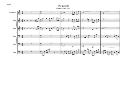 Thumbnail of first page of The Prayer piano sheet music PDF by Celine Dion.