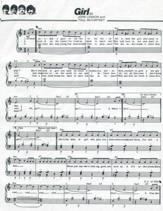 Thumbnail of first page of Girl piano sheet music PDF by The Beatles.
