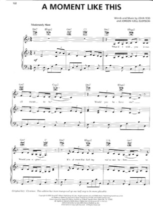 Thumbnail of first page of A moment like this piano sheet music PDF by Kelly Clarkson.