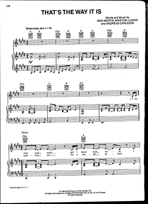 Thumbnail of first page of The Way It is piano sheet music PDF by Celine Dion.