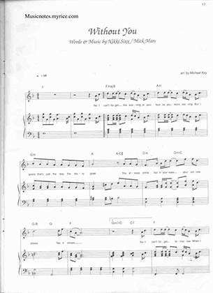 Thumbnail of first page of Without you (2) piano sheet music PDF by Mariah Carey.