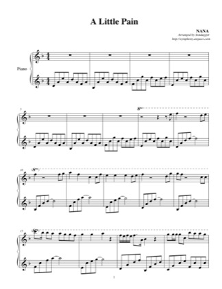 Thumbnail of first page of A Little Pain piano sheet music PDF by NANA.