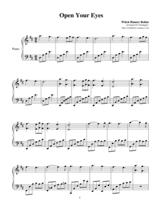 Thumbnail of first page of Open Your Eyes piano sheet music PDF by Witch Hunter Robin.