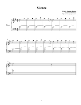 Thumbnail of first page of Silence piano sheet music PDF by Witch Hunter Robin.