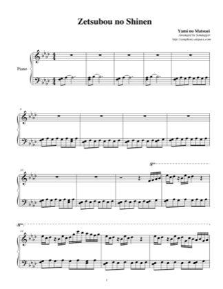 Thumbnail of first page of Zetsubou no Shinen piano sheet music PDF by Descendants of Darkness.