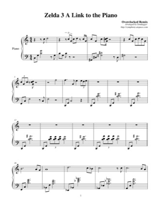 Thumbnail of first page of A Link to the Piano (Overclocked Remix) piano sheet music PDF by The Legend of Zelda: A Link to the Past.