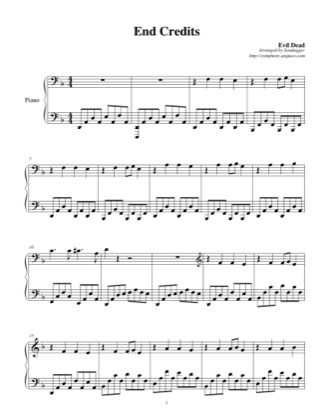 Thumbnail of first page of End Credits piano sheet music PDF by Evil Dead.