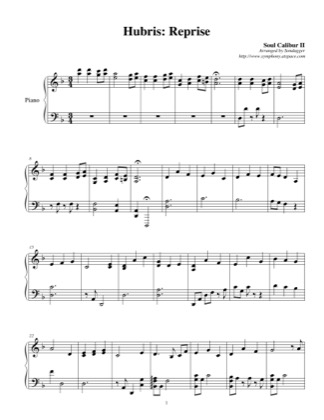 Thumbnail of first page of Hubris: Reprise piano sheet music PDF by Soul Calibur II.