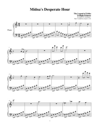 Thumbnail of first page of Midna's Desperate Hour piano sheet music PDF by The Legend of Zelda: Twilight Princess.