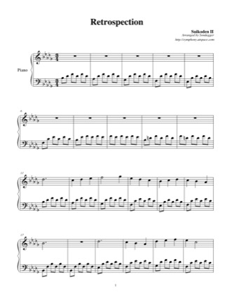 Thumbnail of first page of Retrospection piano sheet music PDF by Suikoden II.