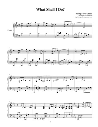 Thumbnail of first page of What Shall I Do? piano sheet music PDF by Rising Force Online.