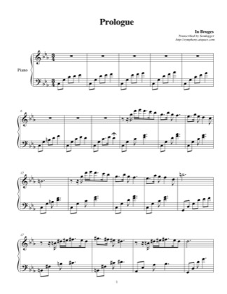 Thumbnail of first page of Prologue piano sheet music PDF by In Bruges (Carter Burwell).
