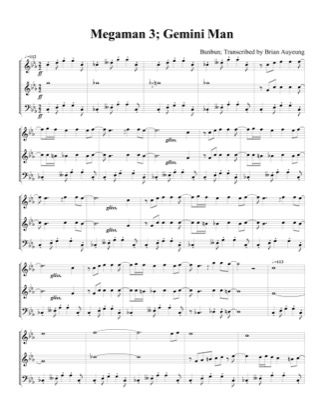 Thumbnail of first page of Gemini Man piano sheet music PDF by Megaman 3.