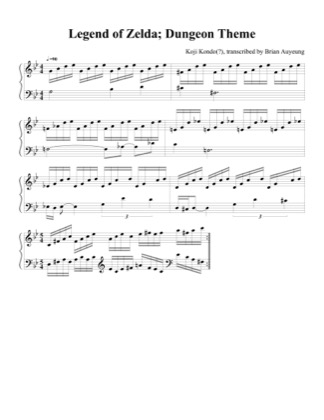 Thumbnail of first page of Dungeon Theme piano sheet music PDF by The Legend of Zelda.