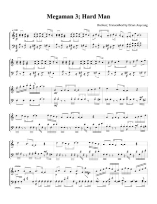 Thumbnail of first page of Hard Man (easy) piano sheet music PDF by Megaman 3.