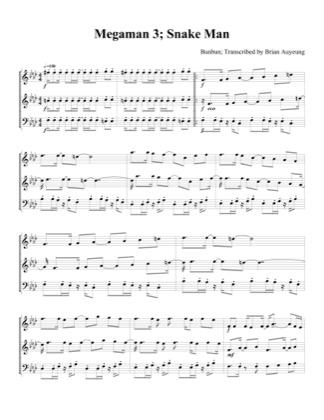 Thumbnail of first page of Snake Man piano sheet music PDF by Megaman 3.