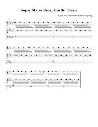 Castle Theme by Super Mario Bros Piano Sheet Music