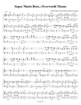 Thumbnail of first page of Overworld Theme piano sheet music PDF by Super Mario Bros.