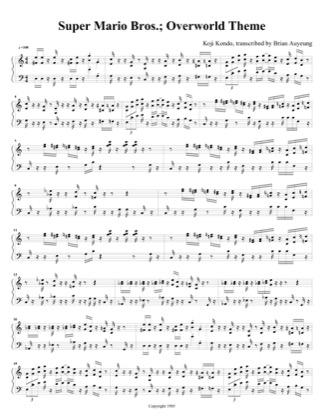 Overworld Theme by Super Mario Bros Piano Sheet Music | Sheetdownload