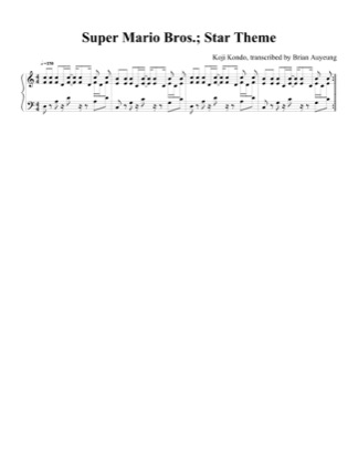 Thumbnail of first page of Star Theme piano sheet music PDF by Super Mario Bros.