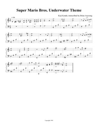 Thumbnail of first page of Underwater Theme piano sheet music PDF by Super Mario Bros.