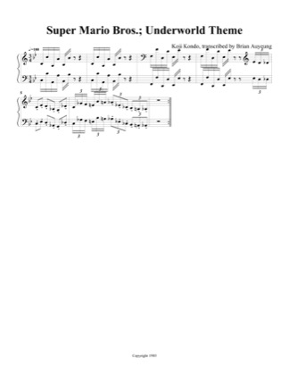 Thumbnail of first page of Underworld Theme piano sheet music PDF by Super Mario Bros.