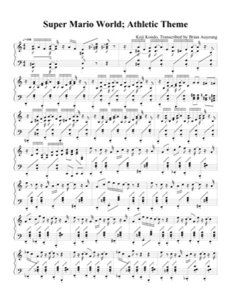 Thumbnail of first page of Athletic Theme piano sheet music PDF by Super Mario World.