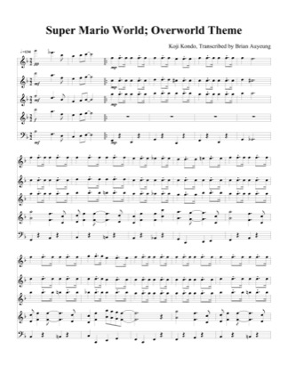 Thumbnail of first page of Overworld Theme piano sheet music PDF by Super Mario World.
