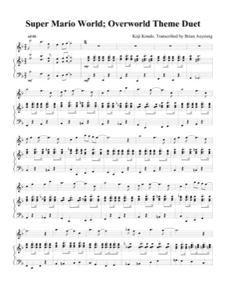 Thumbnail of first page of Overworld Theme (Duet) piano sheet music PDF by Super Mario World.