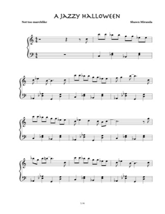 Thumbnail of first page of A Jazzy Halloween piano sheet music PDF by Shawn Miranda.