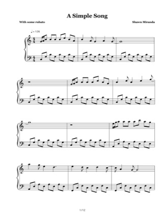 Thumbnail of first page of A Simple Song piano sheet music PDF by Shawn Miranda.