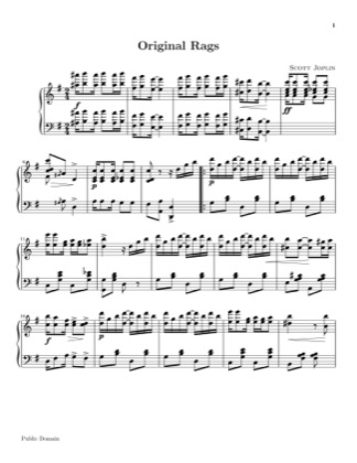 Thumbnail of first page of Original Rags piano sheet music PDF by Scott Joplin.