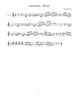 Thumbnail of first page of Pink Panther Theme (Melody) piano sheet music PDF by The Pink Panther.