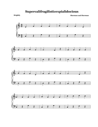 Thumbnail of first page of Supercalifragilisticexpialidocious (easy l.h) piano sheet music PDF by Mary Poppins.