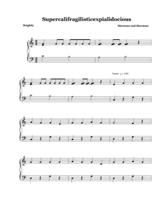 Thumbnail of first page of Supercalifragilisticexpialicocious (with intro) piano sheet music PDF by Mary Poppins.