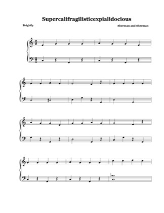 Thumbnail of first page of Supercalifragilisticexpialidocious (easy) piano sheet music PDF by Mary Poppins.